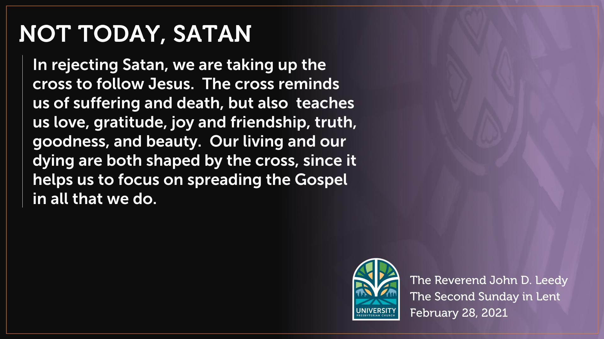 Not Today, Satan Art Work